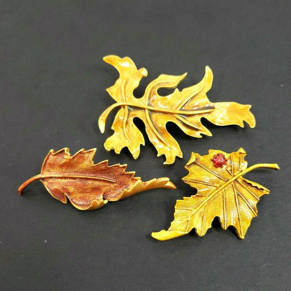 878c02173 Tana Jewelry | 3 Vtg Leaf Brooches Fall Leaves Lady Bug Pin | Poshmark